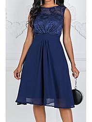 Χαμηλού Κόστους -Γυναικεία Βασικό Γραμμή Α Φόρεμα - Φλοράλ, Δαντέλα Ως το Γόνατο