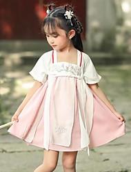olcso -Gyermek táncruhák Hanfu Lány Teljesítmény Sifon Hímzés Rövid ujjú Ruha