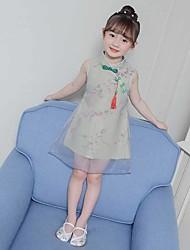 olcso -Gyermek táncruhák Hanfu Lány Teljesítmény POLY Hímzés Ujjatlan Ruha
