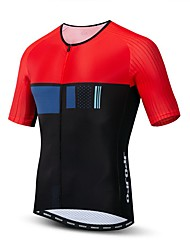 hesapli -JPOJPO Erkek Kısa Kollu Bisiklet Forması Siyah / kırmızı Bisiklet Tracksuit Forma Üstler Nefes Alabilir Spor Dalları Polyester Elastane Terylene Dağ Bisikletçiliği Yol Bisikletçiliği Giyim