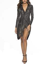 cheap -Women's Street chic Little Black Dress - Solid Colored Patchwork Black M L XL