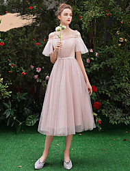 저렴한 -A-라인 스파게티 스트랩 종아리 길이 튤 신부 들러리 드레스 와 주름장식 으로 LAN TING Express