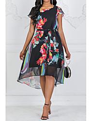 Χαμηλού Κόστους -Γυναικεία Εξόδου Μεγάλα Μεγέθη Εκλεπτυσμένο Φαρδιά Swing Φόρεμα,Στάμπα Κοντομάνικο Στρογγυλή Λαιμόκοψη Μίντι Μαύρο Πολυεστέρας Καλοκαίρι