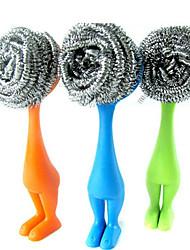 Недорогие -губки из нержавеющей стали металлические скребки для мытья посуды с длинной ручкой мочалка для мытья посуды кухонная утварь с сильным чистящим средством