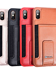 cheap -Case For Apple iPhone X / iPhone XS / iPhone XR Card Holder / with Stand Back Cover Solid Colored Hard PU Leather for iPhone XS / iPhone XR / iPhone XS Max