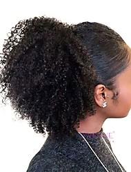 Недорогие -плетение волос Конскиехвостики Женский Натуральные волосы Волосы Наращивание волос Кудрявый 18 дюймы На каждый день / Черный