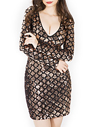 cheap -Women's Basic Bodycon Dress - Solid Colored Sequins Gold M L XL