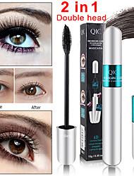 abordables -Qic 2 en 1 dama sexy doble rímel de fibra grueso rizado anti-acuarela maquillaje belleza tubo de plata rímel
