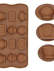 Недорогие -12 отверстий силиконовые чашки чая часы чайник формы торт ледяной шоколад украшения плесень diy кухня формы для выпечки