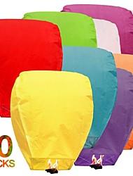 Недорогие -10 шт. / Компл. Многоцветный высокое качество китайский фонарь огонь небо летать свечи лампы на день рождения свадьба фонарь желание лампа небесные фонарики