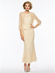 저렴한 -투피스 쥬얼리 발목 길이 쉬폰 신부 어머니 드레스 와 패턴 / 프린트 으로 LAN TING Express