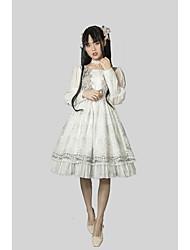 Недорогие -Художественные / Ретро Classic Lolita Элегантный стиль Платья Костюм для вечеринки Маскарад Коктейльное платье Мужской Японский Косплей костюмы Белый Однотонный Кружева Вышивка Длинный с фонариком