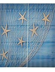 Недорогие -приморский пляж прозрачная печать дизайн шторы утолщение звукоизоляция голова изоляция ткань шторы спальня простота установки водонепроницаемый против морщин занавески для душа