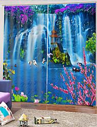 Недорогие -3d красивый водопад напечатан конфиденциальность две панели полиэстера занавес для наружной / гостиной декоративные водонепроницаемые пылезащитные шторы высокого качества