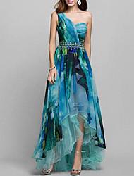 Недорогие -Жен. Элегантный стиль С летящей юбкой Платье - Геометрический принт, С принтом На одно плечо Ассиметричное
