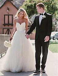 저렴한 -A-라인 스윗하트 스윕 / 브러쉬 트레인 튤 Made-To-Measure 웨딩 드레스 와 으로 LAN TING Express