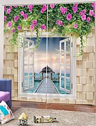 Недорогие -Горячие продажи цветочные прозрачный принт плотные шторы ткани водонепроницаемый Mouldproof занавески для душа для спальни / ванной комнаты / гостиной звукоизоляция шторы