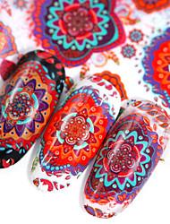 Недорогие -10 листов смешанного стикера ногтя традиционное растение цветок воды шаблон передачи красочные ногтей искусство наклейка с наклейками советы маникюр