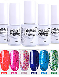 Недорогие -лак для ногтей 6 шт. цвет 241-246 xyp soak-off uv / led гель лак для ногтей сплошной цвет лак для ногтей наборы