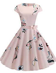 cheap -Women's Basic Chinoiserie A Line Swing Dress - Color Block Print Blushing Pink L XL XXL