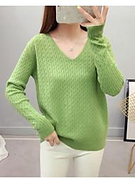 Недорогие -Жен. Однотонный Длинный рукав Пуловер, V-образный вырез Осень / Зима Светло-синий / Розовый / Белый Один размер