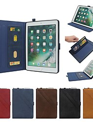 cheap -Case For Apple iPad Air / iPad (2018) Flip / with Stand / Shockproof Full Body Cases Solid Colored Hard Genuine Leather for iPad Pro 9.7'' / iPad (2017) / iPad Air 2