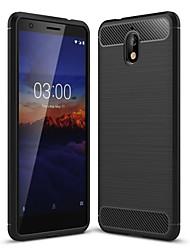 Недорогие -Кейс для Назначение Nokia Nokia 5.1 / Nokia 3.1 Защита от пыли Кейс на заднюю панель Однотонный Мягкий Углеродное волокно