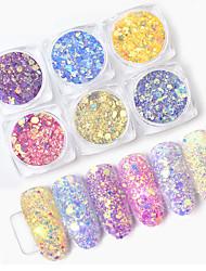 Недорогие -1 коробка светлое изменение цвета ногтей блеск блестки ультрафиолетовый свет градиент голографические шестиугольные хлопья маникюр украшения искусства ногтя