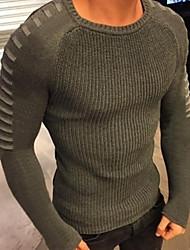 Недорогие -Муж. Однотонный Длинный рукав Пуловер, Круглый вырез Черный / Белый / Военно-зеленный US34 / UK34 / EU42 / US36 / UK36 / EU44 / US38 / UK38 / EU46