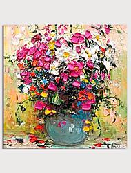 Недорогие -ручная роспись холст масляные краски абстрактные густые масляные цветы в вазе ножом украшения дома с рамкой картины готовы повесить