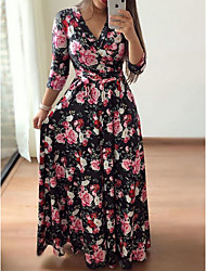Недорогие -Жен. А-силуэт Платье - Цветочный принт Макси