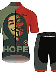 Недорогие -21Grams V for Vendetta Кино Муж. С короткими рукавами Велокофты и велошорты - Черный / красный Велоспорт Наборы одежды Дышащий Быстровысыхающий Со светоотражающими полосками Виды спорта 100% полиэстер