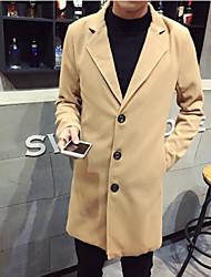 Недорогие -Муж. Повседневные Классический / Уличный стиль Наступила зима Длинная Пальто, Однотонный Лацкан с тупым углом Длинный рукав Смесь шерсти Черный / Светло-серый / Хаки