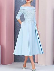 Недорогие -А-силуэт С открытыми плечами Ниже колена Сатин Платье для матери невесты с Бусины / Аппликации от LAN TING Express