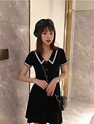 povoljno -Žene Majica Haljina Color block Iznad koljena