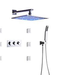 Недорогие -комплект для душа для ванны / настенный квадратный светодиодный душ / ручной душ в комплекте / с горячей и холодной водой смеситель для ванны / форсунки для массажа / современный