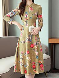 Недорогие -Жен. Классический Шинуазери (китайский стиль) А-силуэт С летящей юбкой Платье - Однотонный Контрастных цветов, Пэчворк С принтом Средней длины