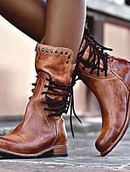 Недорогие -Жен. Ботинки На низком каблуке Круглый носок Полиуретан Наступила зима Черный / Коричневый / Серый
