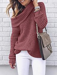 Недорогие -Жен. Однотонный Длинный рукав Пуловер, С открытыми плечами Черный / Розовый / Красный S / M / L