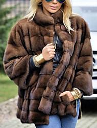 Недорогие -Жен. Повседневные Классический Обычная Искусственное меховое пальто, Однотонный Воротник-стойка Длинный рукав Искусственный мех Коричневый