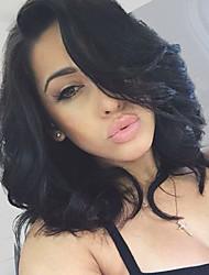 Недорогие -Натуральные волосы Бесклеевая кружевная лента Лента спереди Парик Стрижка боб Короткий Боб Свободная часть стиль Бразильские волосы Волнистый Парик 130% 150% 180% Плотность волос / Glueless
