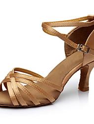 Недорогие -Жен. Танцевальная обувь Сатин Обувь для латины На каблуках Тонкий высокий каблук Персонализируемая Телесный / Выступление
