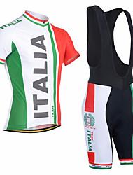 Недорогие -21Grams Муж. С короткими рукавами Велокофты и велошорты-комбинезоны Red and White Italy Флаги Велоспорт Наборы одежды Дышащий Влагоотводящие Быстровысыхающий Анатомический дизайн Виды спорта Italy