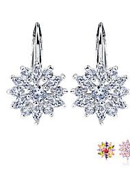 Недорогие -Серьги-гвоздики из настоящего серебра с цветком в виде цветка многоцветный / серебряный ааа циркон для женщин ювелирные изделия
