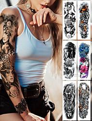 Недорогие -1 шт. Большая рука рукав татуировки полуночный леопард красоты девушка водонепроницаемый временный стикер tatto лунный свет роза полный череп тату женщины