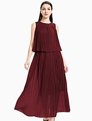 Недорогие -Жен. С летящей юбкой Из двух частей Платье - Однотонный Макси