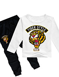 Недорогие -Дети Дети (1-4 лет) Мальчики Классический Тигр С принтом С принтом Длинный рукав Обычный Обычная Хлопок Набор одежды Серый