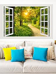 Недорогие -стикеры на стенах в солнечном лесу - стикеры на стенах для животных / комната для изучения ландшафта / офис / столовая / кухня