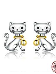 Недорогие -2019 новый стерлингового серебра 925 милый кот животное колокольчик животных серьги стержня для женщин шпильки ювелирные подарки для детей bse25112