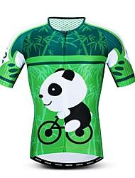 hesapli -JPOJPO Karton Panda Erkek Kısa Kollu Bisiklet Forması - Yeşil Bisiklet Forma Üstler Nefes Alabilir Nem Emici Hızlı Kuruma Spor Dalları Polyester Elastane Terylene Dağ Bisikletçiliği Yol Bisikletçiliği